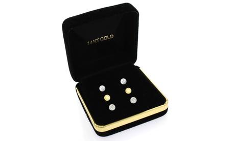 14kt Gold 3PC Ball, Pearl, Crystal Ball Stud Set 192d7183-87af-4cc4-92fd-3bd35f1bccf2