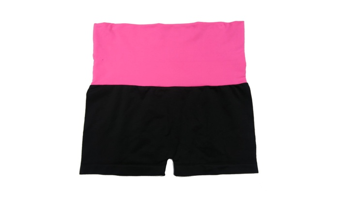 Women Fold-Over Solid Color Waistband Black Yoga Shorts