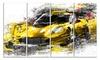 Black and Yellow Speedster Metal Wall Art 48x28 4 Panels