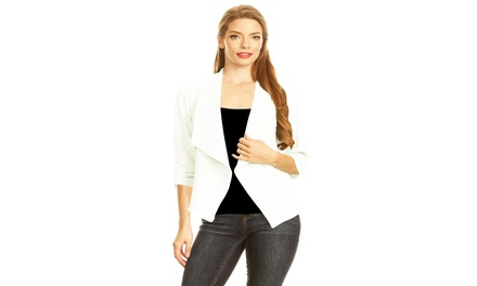 Casual 3/4 Sleeve Open Front Cardigan Jacket Work Office Blazer with Plus size