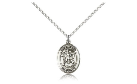 IceCarats Designer Jewelry Sterling Silver St. Michael The Archangel 3/4 X 1/2 Inch Necklace