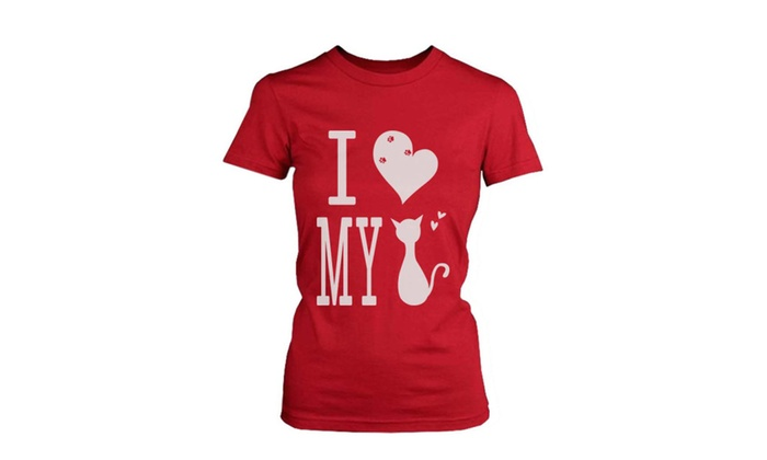 43ac33d6 I Love My Cat Red Women's T-Shirts Tees For Cat Lovers | Groupon