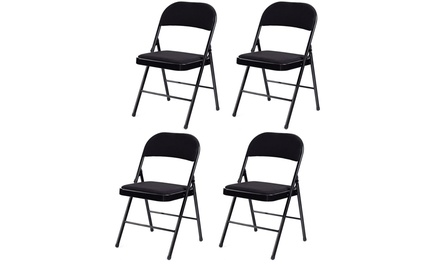 Set of 4 Folding Chairs Fabric Upholstered Padded Seat Metal Frame