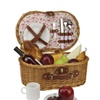 2-Person Hand Woven Honey Willow Floral Picnic Basket Set w/ Access