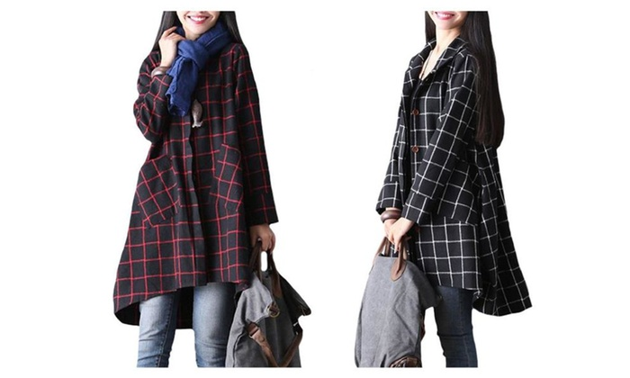 Women's Plaid Asymmetric Loose Single Breasted Coat Pocket Overcoat