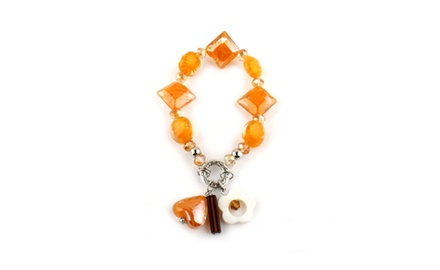 Fina Collection Tangerine Murano Glass Bracelet