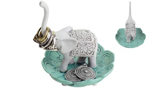 Evelots Good Luck Elephant Jewelry and Ring Holder