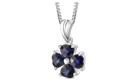 Blue Sapphire Pendant Necklace Sterling Silver Heart 2 Carats SP8426