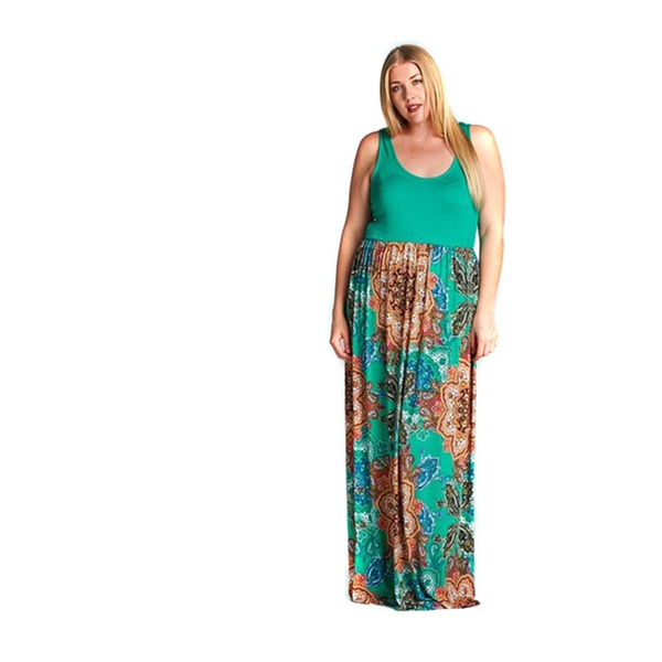 Floral Mandala Full Length Boho Chic Plus Size Maxi Tank Dress USA