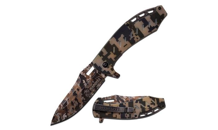 """US Marines 5"""" Folder Laser Camo Blade w/Digi Camo G10 Handle"""