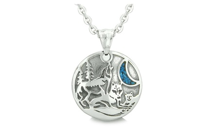 Unity Amulet Howling Wolf and Family Wild Moon Powers Man Made Turquoise Chips Pendant Necklace