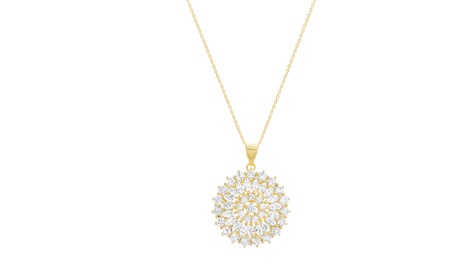 Sterling Silver Pave Round/Marquise CZ Disc Pendant Cable Chain Necklace d4931240-e43c-4f94-9758-cdd4ee05f8fb