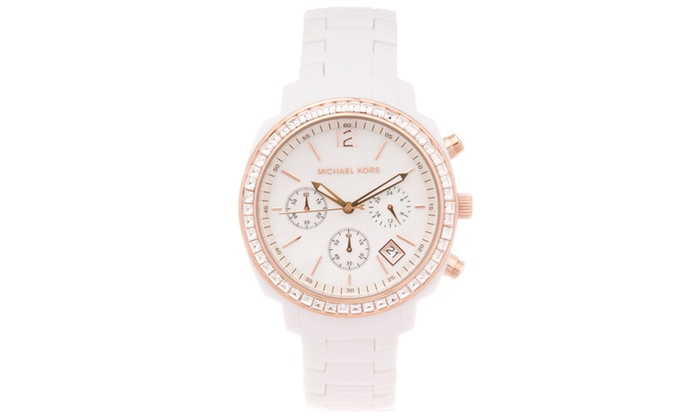 e3d98745fef Michael Kors Women s Rose-gold tone and White Acrylic Watch