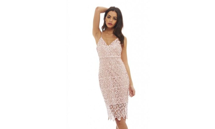 AX Paris Women s V Neck Crochet Midi Dress  d281d0fea