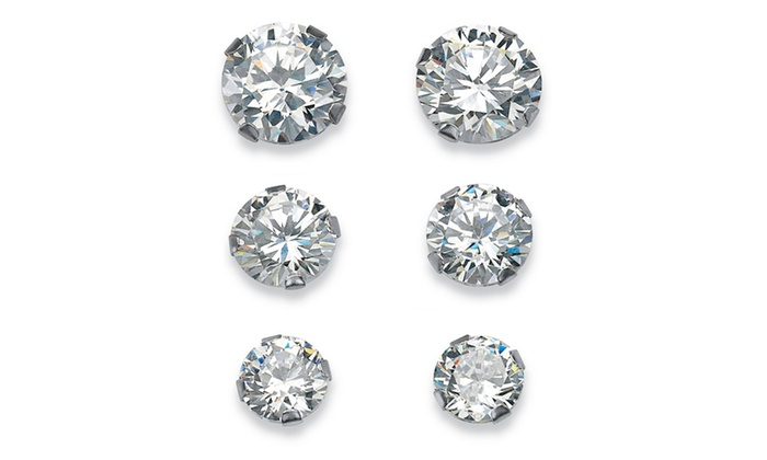 8976416ed 5.15 TCW Round Cubic Zirconia 10k White Gold Stud 3-Pairs Earrings Set