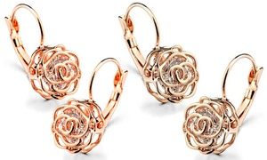 5383addc9 Caged Crystal Rose Earrings/Necklace in 18K White, Yellow or Rose Gold