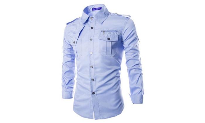 Men's Fashion Slim Fit Long Sleeves Casual Shirt