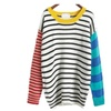 Women Casual Colorful Striped Cute Loose Pullover Sweater