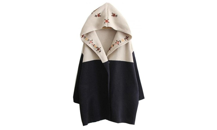 Women's Navy Hooded Long Sleeve Tribal Embroidery Sweater Coat