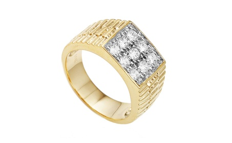 Men's Goldtone Cz Ribbed Square Ring Sizes 7-17 b5cc1b66-7141-4e2b-8a3d-a4fe8533e6b0