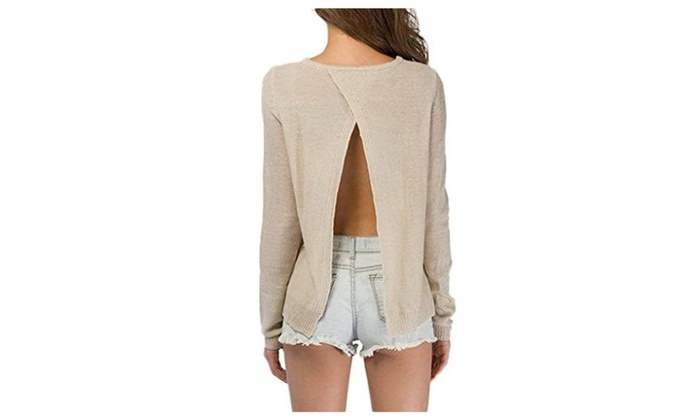 Bigood Women's Casual Backless Long Sleeve Pullover Sweater Slim Blouse