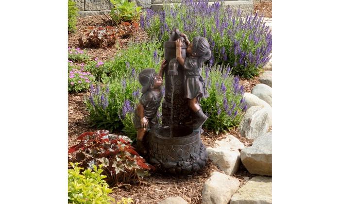 Pure Garden Boy And Girl Water Outdoor Fountain ...