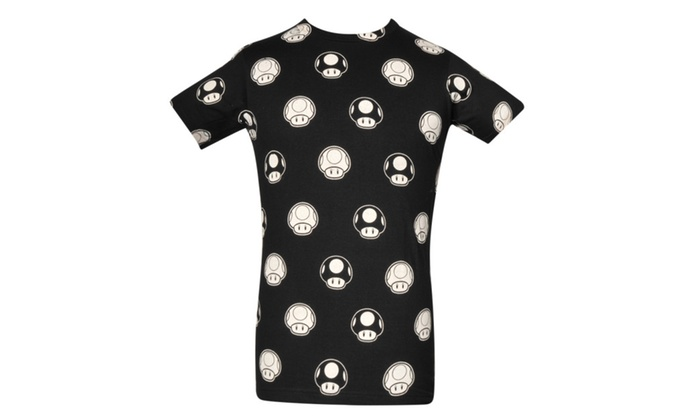 Super Mario Black & White Mushrooms Black T-shirt