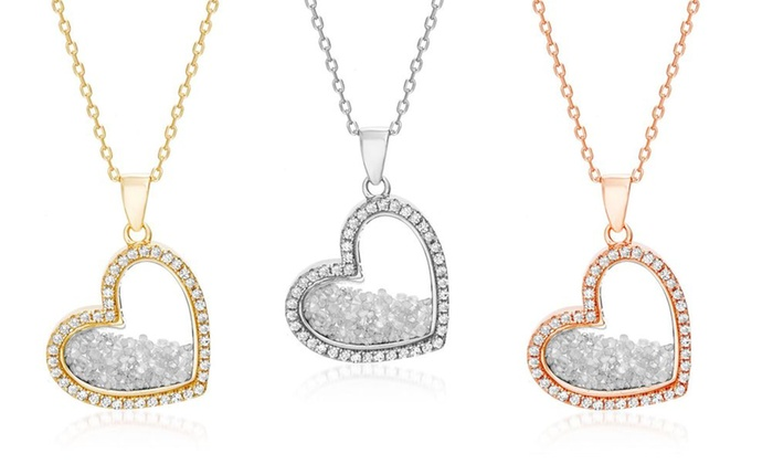 c08205a2fd50 1 2 CTTW Diamond Shaker Pendant with CZ Halo in Silver by Diamante