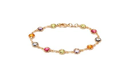 18K Gold Plated Gold and Multi Color Crystals Bracelet