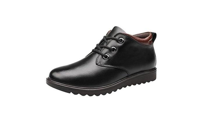 BCYEMQ Men's Genuine Leather Snow Boots