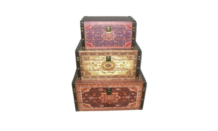 Qty 3 Oriental Style Red Brown Creme Earth Tones Decorative Storage