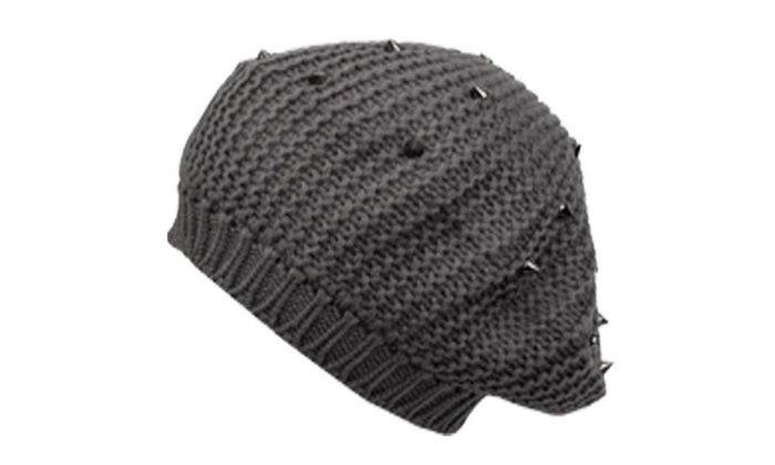 Sakkas Spike Studded Knit Slouch Fashion Beret