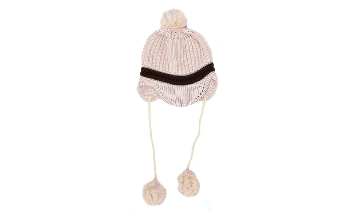 f4c40b67a Winter Pom-Pom Brim Knit Beanie Visor Hat with Ear Flaps for Baby
