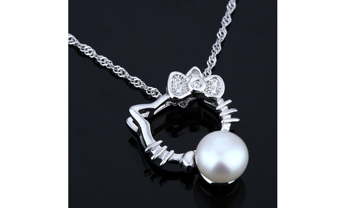 975f88e17 Hello Kitty Shape with Freshwater 925 Sterling Silver Pendant Necklace