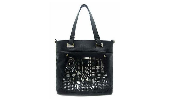 Women's Designer Laser Cut Tote Bag O0162 - Black