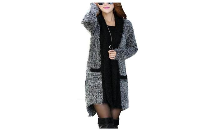 Women's Fashion Cozy Long Mohair Knitting Cardigan Coat