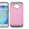 Insten Hybrid Coated Silicone Case w Diamond For Galaxy J3 Pink Gray
