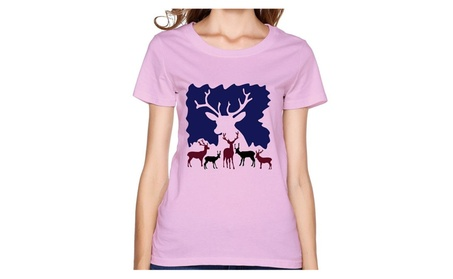 HM Women's Tshirts Reindeer Christmas Pink 2d168661-fc2f-4b1f-9e32-8eb88649ce73
