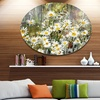 Daisies Flowers Under the Window' Floral Metal Circle Wall Art
