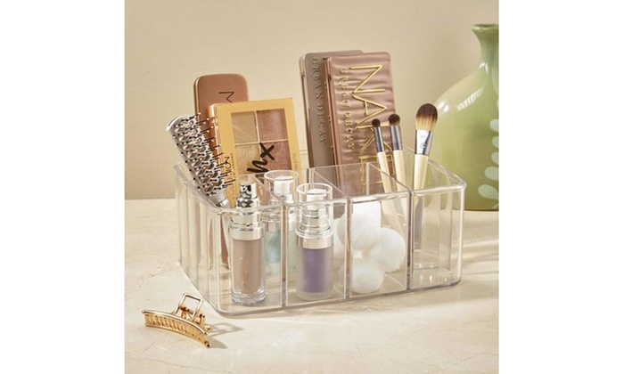 45f0dac730be 5 Compartments Clear Plastic Vanity Organizer