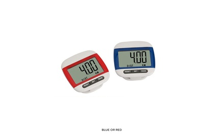 Sleek Clip-On Digital Sports Pedometer - Blue or Red