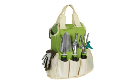 9-Piece Garden Tools Set W/ Hand Tools, Gloves, Carrying Tote Bag 3bf3b02f-735d-4071-8d11-344487180824