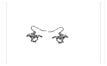 Silver Plated Kentucky Derby Horse Racer Dangle Hook Earrings