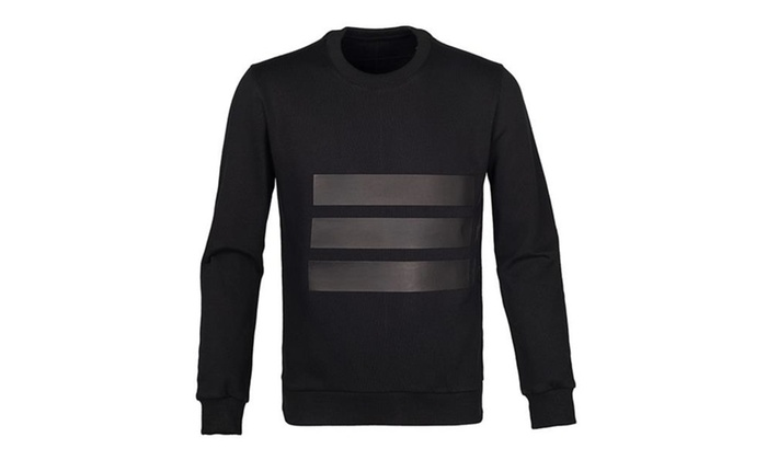 Men's Spring Slim Fit Crew Neck Long Sleeve Cotton Pullover Sweatshirt