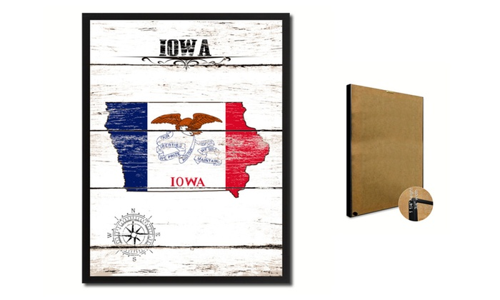 """SpotColorArt: Iowa State Map Accent Shabby Chic Flag 7""""x9"""" Framed Canvas Print"""