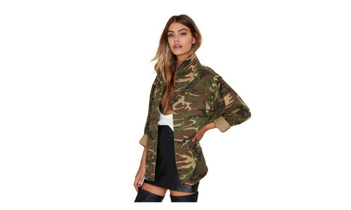 Women Camouflage Coat Stand Collar Pocket Long