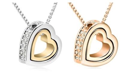 KATGI 18K Gold Forever Love Dual Heart Shape Elegant Austrian Crystal Pendant Necklace