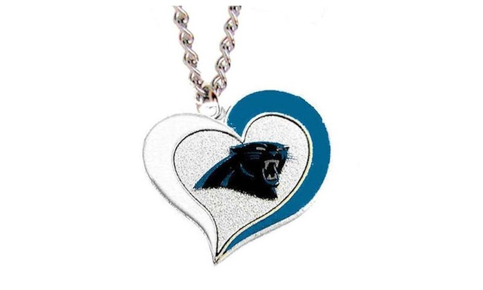 Carolina Panthers NFL Team Logo Swirl Heart Necklace