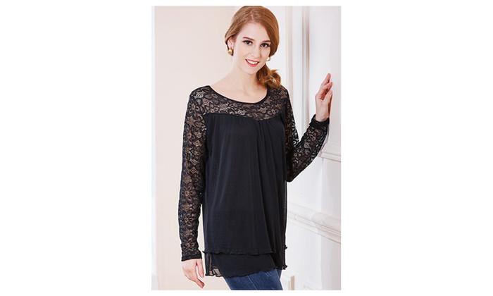 Women Round Lace Floral Neck Shirt and Blouse Black – JPSB757-JPSB758