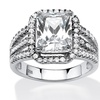 4.38 TCW Emerald-Cut CZ Halo Ring in Platinum Over Sterling Silver